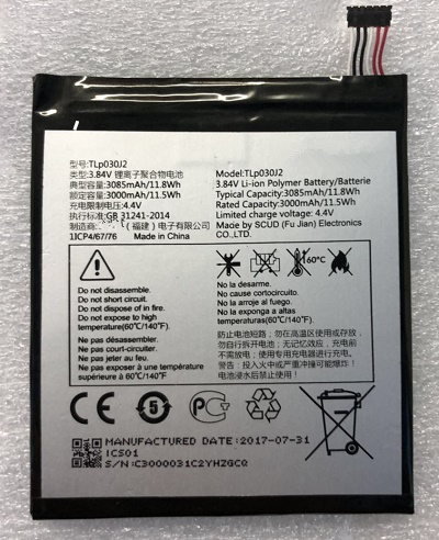 3.84V 3085mAh TLP030J2 For Alcatel  Battery