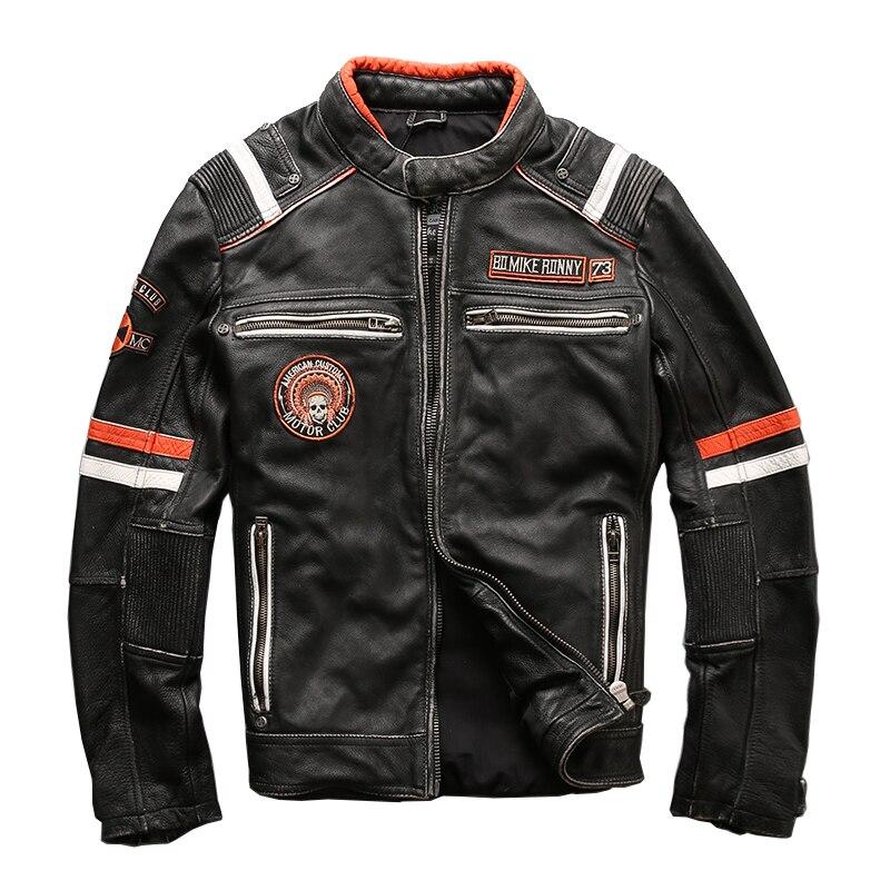 HARLEY DAMSON w stylu Vintage czarny mężczyźni Slim Fit motocykl skórzana kurtka Plus rozmiar 3XL oryginalna gruba skóra bydlęca Biker płaszcz skórzany w Płaszcze ze skóry naturalnej od Odzież męska na  Grupa 1