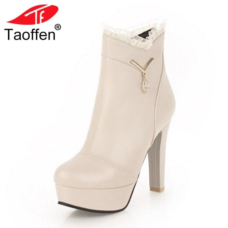 Taoffen blanco Plataforma Piel Tamaño Zapatos Tacones De Beige Altos Color  34 Mujeres Invierno 43 Ruffles Botas Botines Moda ... 5746d5f37dbea