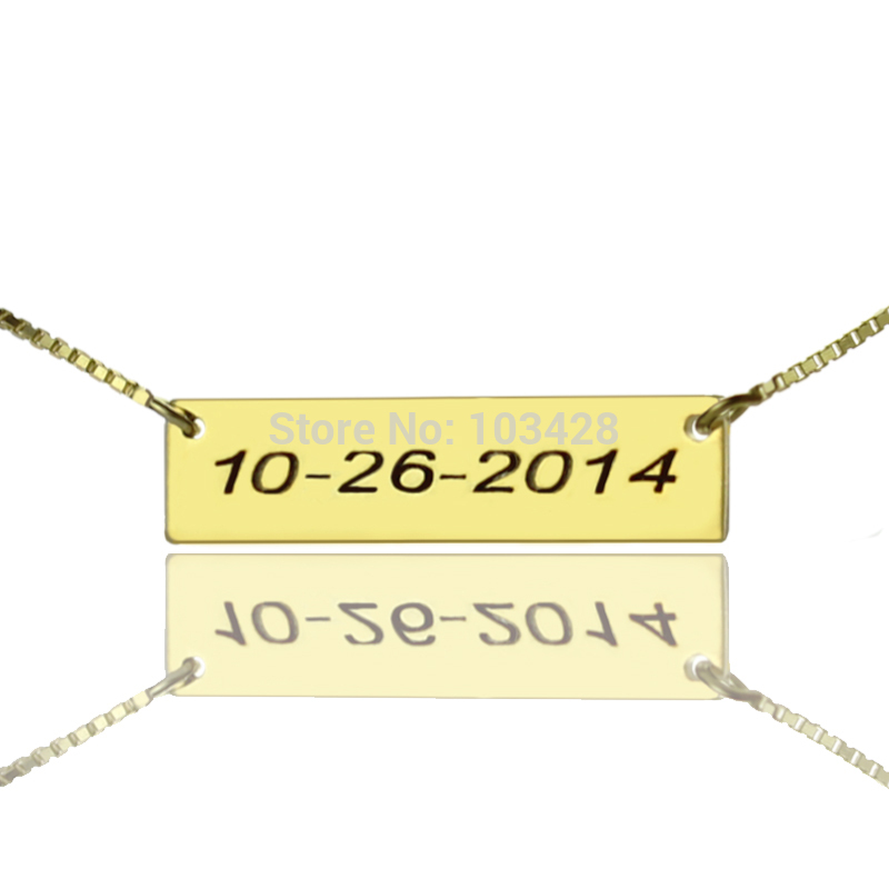 Hand Stamped Anniversary Necklace Wedding Date Necklace Gold Color