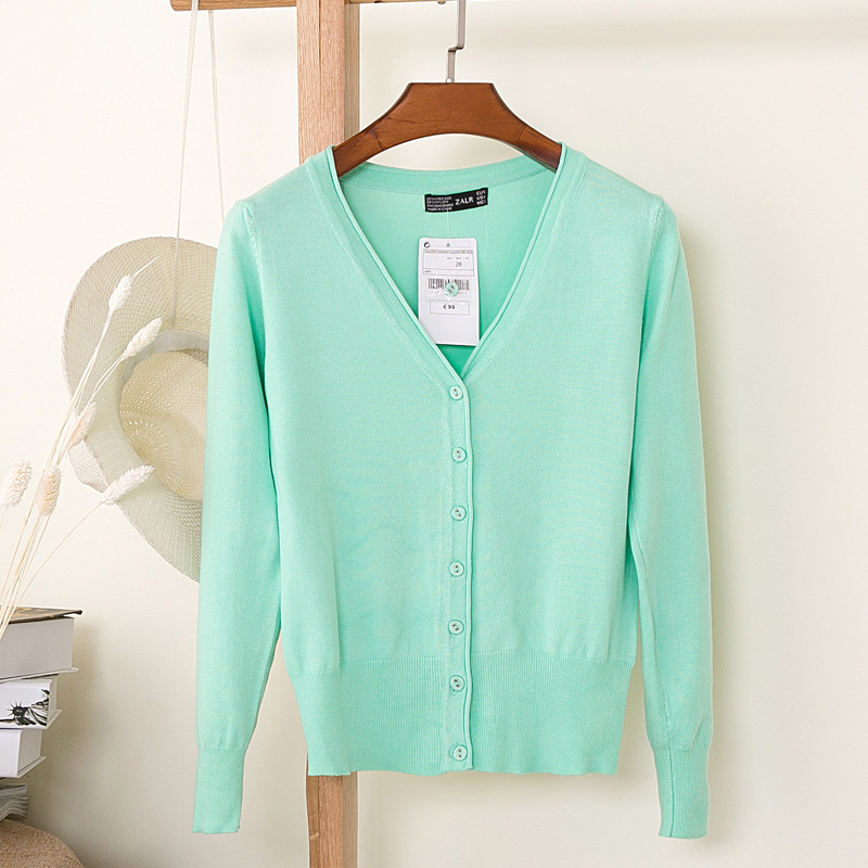 27 Solid Color Women Knitted Cardigan Coat Autumn Winter 2018 Casual V-Neck Long Sleeve Crochet Knit Sweater Coat Female Tops