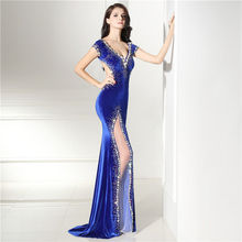 Royal Blue Beads Crystal Evening Dress 2018 With Sheer Velvet Mermaid Prom gowns