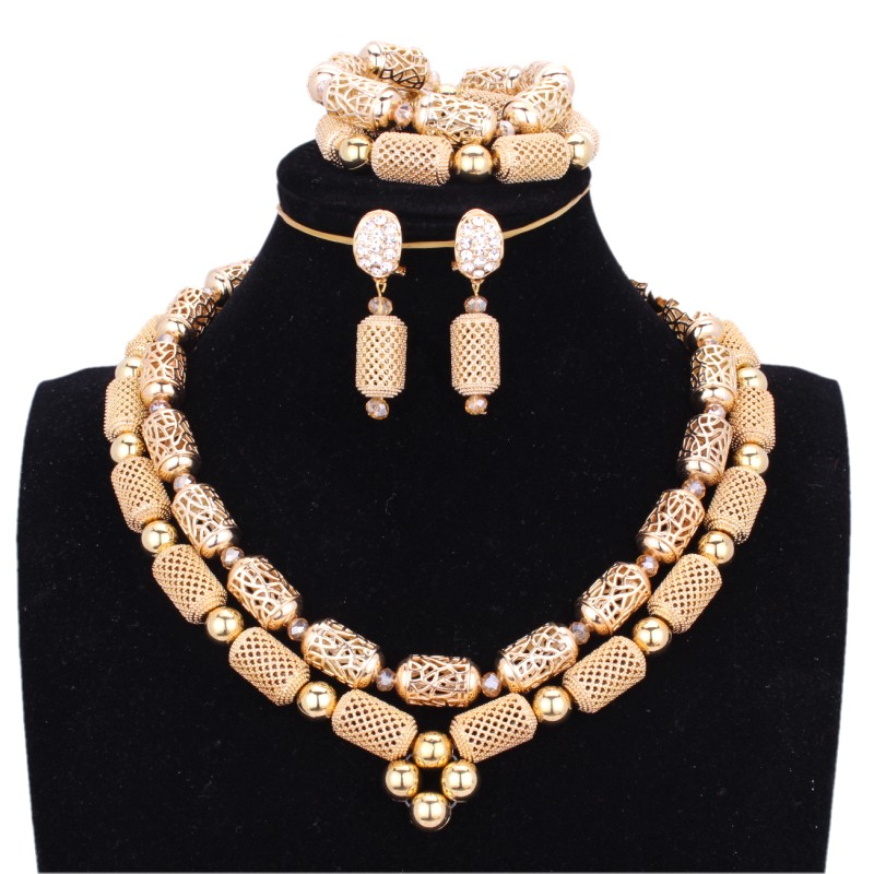 4UJewelry Gold African Dubai Jewelry Sets For Women in Nigerian Wedding Sets 2 Layers Indian bridal Jewelry Sets Free Ship 2018