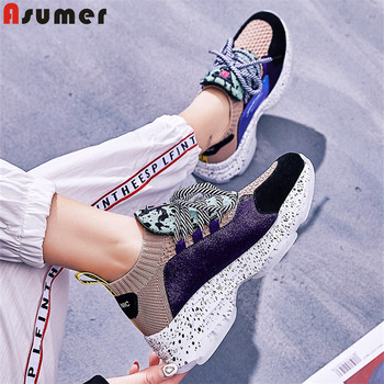 ASUMER Size 35-41 New 2019 Suede Cow Leather Vulcanized shoes women sneakers platform casual shoes ladies sneaker female shoes