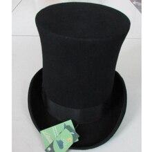 LIHUA 25cm (9.8 inch) Steampunk / Mad Hatter Top Hat Victorian Vintage Wool Fedoras Hat derby hat Millinery/ Magician Hat Trik