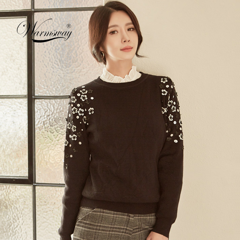 Autumn & Winter Fashion Thick Warm Pullover Sweater Computer Knitted Sequined Beading Women sueter mujer Celebrity C-013