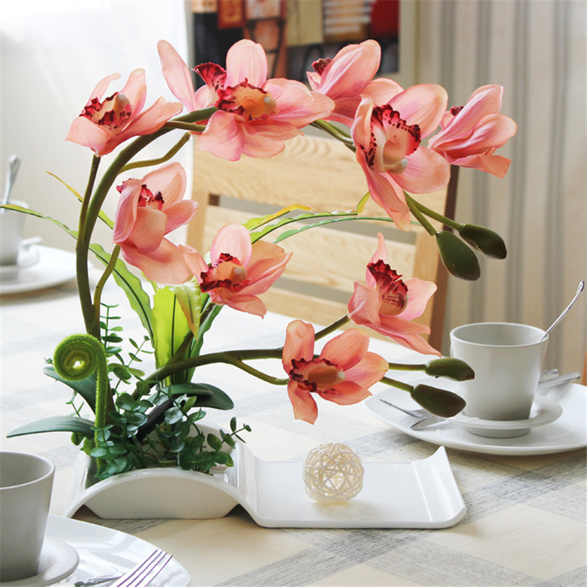Decorative Flowers Artificial Bonsai With Ceramic Dish For Home Decor  Artificial Flower Arrangement Silk Orchid 6Color Available In Artificial U0026  Dried ...