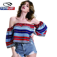 Half Sleeve Slash Neck Blouse Women Summer 2017 New Flare Sleeve Strip Print Women Top Off