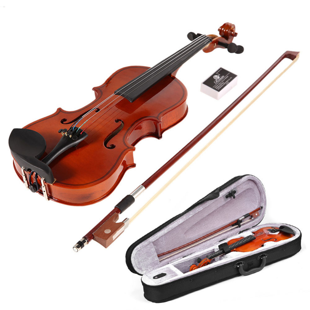Matte Solid Wood Violin 1/8 Size Gloss Natural Acoustic Violin Fiddle With Case For Beginner Bow Rosin Musical Instrument