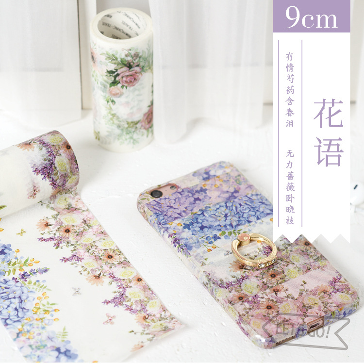 9cmx5cm big large Creative Decorative Flower Phone Decor Sticker Washi Tape For Planner Scrapbooking Masking Tape School Office 1 5cm 7m brief style blue series decorative washi tape scotch diy scrapbooking masking craft tape school office supply