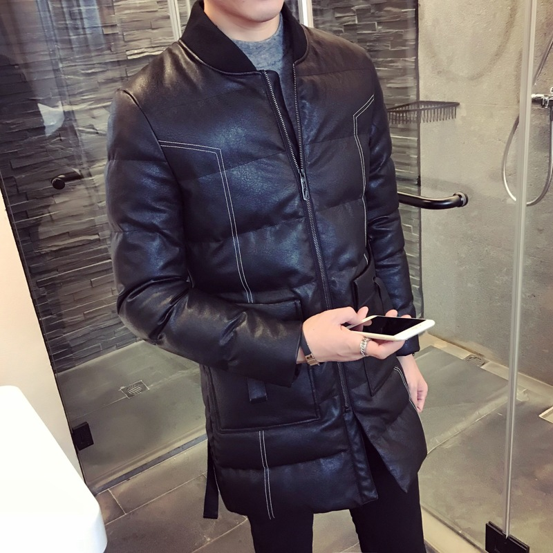 Slim Fashion Mens Winter Jackets And Coats Zipper Long Coat Quilted