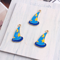 Free Shipping 50PCs 14 26MM Enamel Alloy Magic Hat Pendant Charms Kawaii Drop Oil Alloy Gold