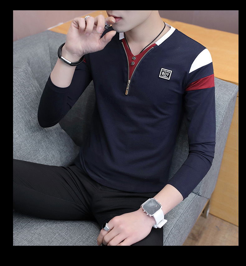 2019 Spring T-Shirt Men Long Sleeve Casual Zipper T Shirts Self-cultivation Design Simple T Shirt Brand New Round Neck Homme 21