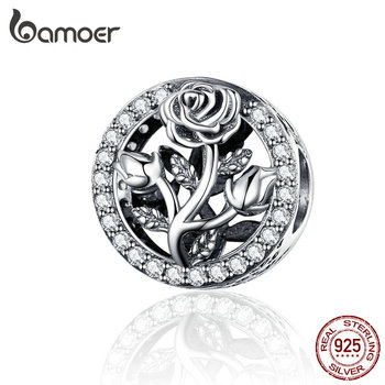 BAMOER Retro Rose Bloem Kralen 100% 925 Sterling Zilveren Ronde Kraal Charms fit Snake Armband Vrouwen Mode-sieraden SCC1189