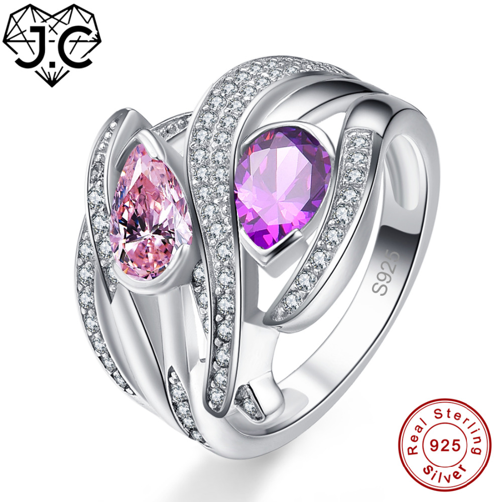 J.C Charms Accessory Amethyst Morganite Citrine Pink White Topaz 925 Sterling Silver Ring Size 6 7 8 9 Wedding Fine Jewelry