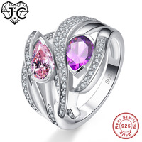J C Charms Accessory Amethyst Morganite Citrine Pink White Topaz 925 Sterling Silver Ring Size 6