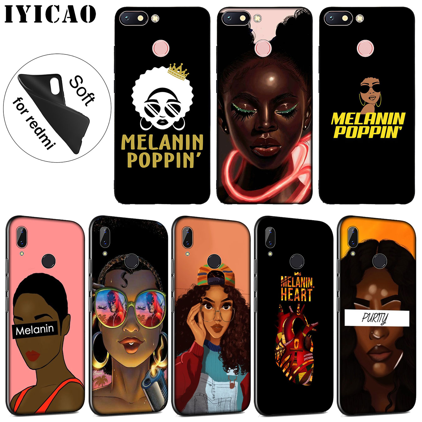 Clever Iyicao 2bunz Melanin Poppin Soft Silicone Phone Case For Xiaomi Redmi 6a 5a Note 7 4 4x 5 Plus 6 Pro Black Tpu Cover Skillful Manufacture Phone Bags & Cases