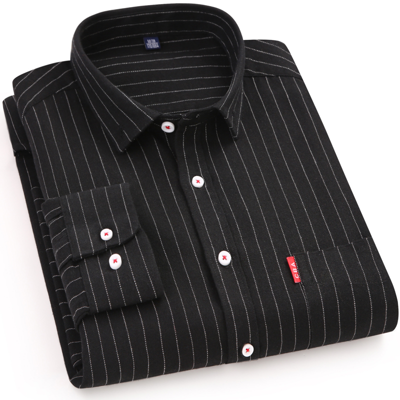 100 Cotton Men 39 s Shirts High Quality Long Sleeve Men Casual Stripe Dress Shirts Simplicity Soft Social Business Male Shirts in Casual Shirts from Men 39 s Clothing