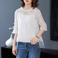 Белый шелк органза вышивка три четверти рукав свободные пуловеры футболки 2018 новые высококачественные офисные женские осенние Рубашки