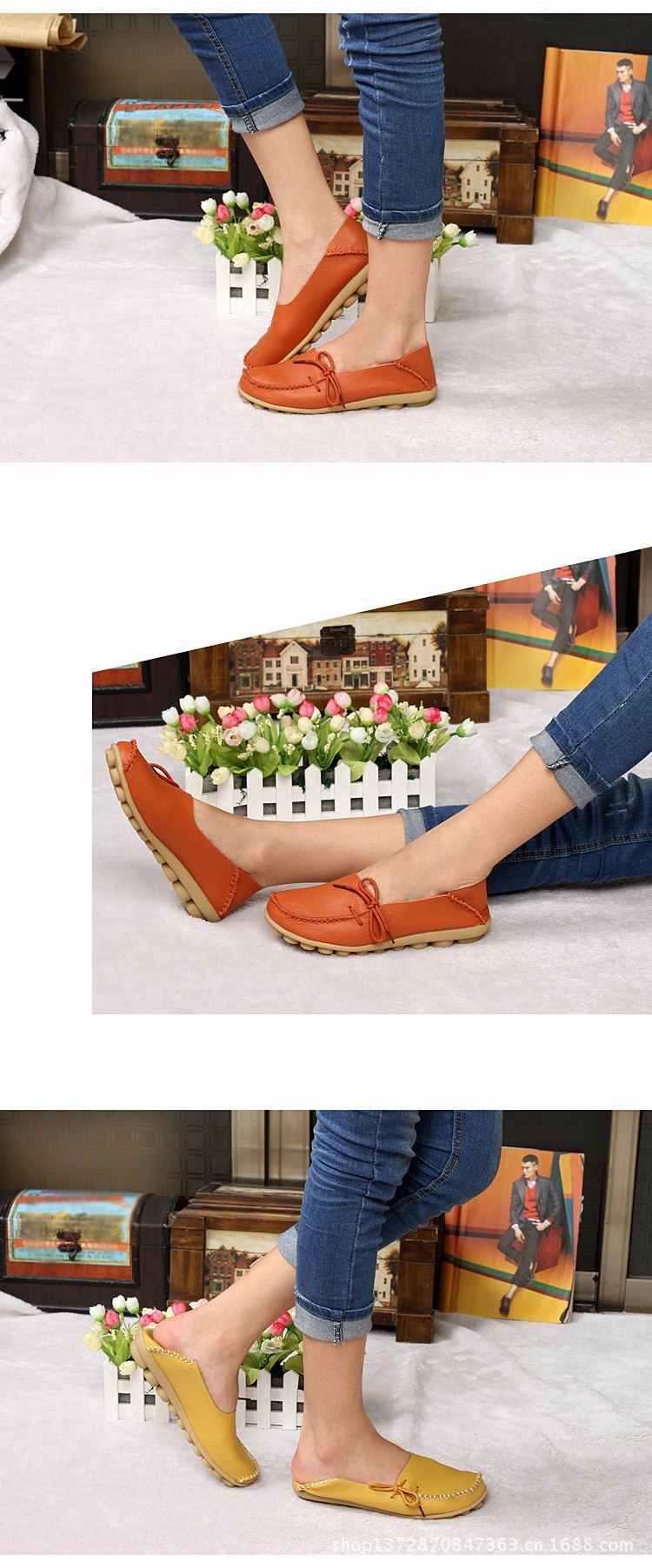 2016 New Real Leather Woman Flats Moccasins Mother Loafers Lacing Female Driving Casual Shoes In 16 Colors Size 34-44 ST179 (6)