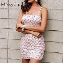 MissyChilli Sequin sexy bodycon summer dress Women sheath strap mini dress  2018 Female glitter sleeveless party dress vestidos 88365f9f93d2