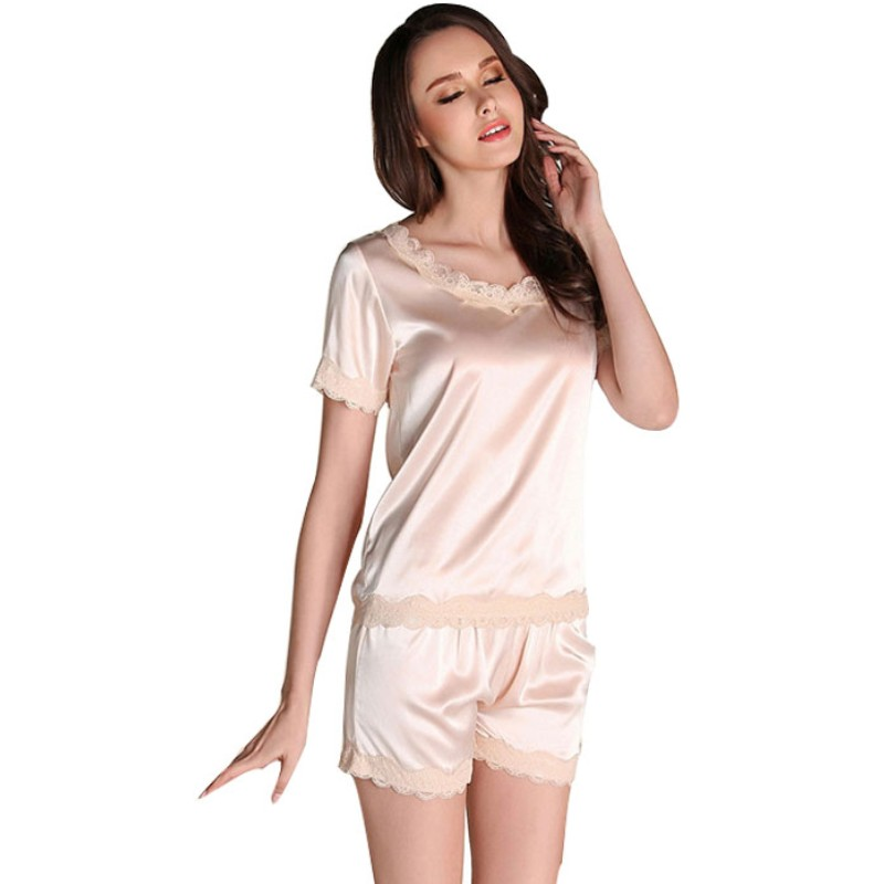 Sexy Elegant Fashion Summer Women Lingerie Round Neck Lace Stain 2 Pieces Sleep Suits Nightwear Sleepwear Pijamas Femme