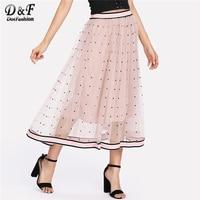 Dotfashion Striped Tape Trim Dotted Mesh Skirt 2018 Summer Women Polka Dot Long Skirt Pink Mid