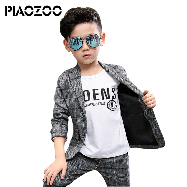 Wedding flower boy clothes Toddler Boys Clothing Set boy plaid suit formal suit coat and pants blazer suits 2 piece Costume P20