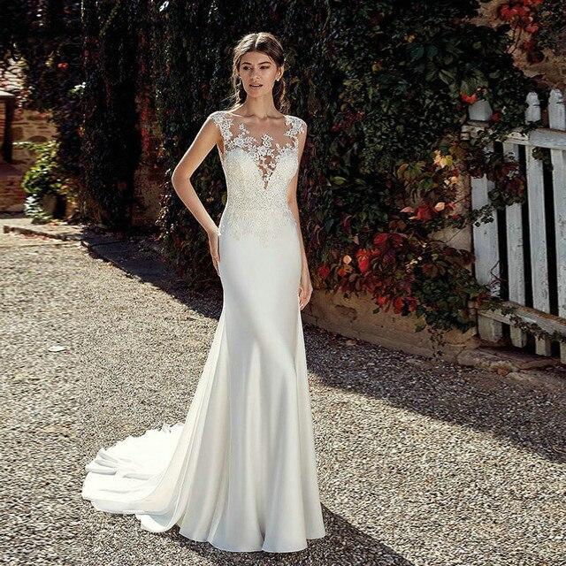 b76aec95084f Vestido De Noiva Elegant 2019 Gelinlik Long Mermaid Wedding Dresses Scoop  Neck Cap Sleeve Lace Appliques robe de mariee
