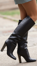 Top Quality Black Leather chic black leather knee high long boots gold rivets thick heel round toe dress boot women dress shoes