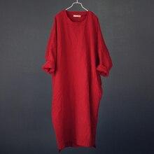 فستان ماكسي نسائي عتيق من Johnature 2020 ربيع جديد بأكمام الخفافيش تطريز قطن كتان مقاس كبير رداء فساتين طويلة بالأكمام الطويلة