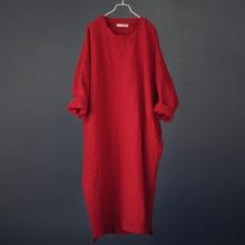 Johnature Vestido largo de lino y algodón con manga de murciélago, traje largo Vintage para mujer, bordado, manga larga, talla grande, primavera 2020
