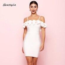 Elegant Ruffles Women Bandage Dress