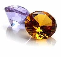 60mm 6pcs Amber Glass Diamond Cut Crystal Jewelry Crystal Paperweight Wedding Decoration Home Diamond