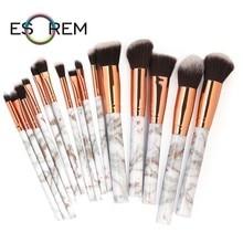 ESOREM Sell Well Marble Handle Makeup Brushes Set 15 Pcs High Quality Nylon Wool Powder Buffing Brush Brochas Maquillaje 5685