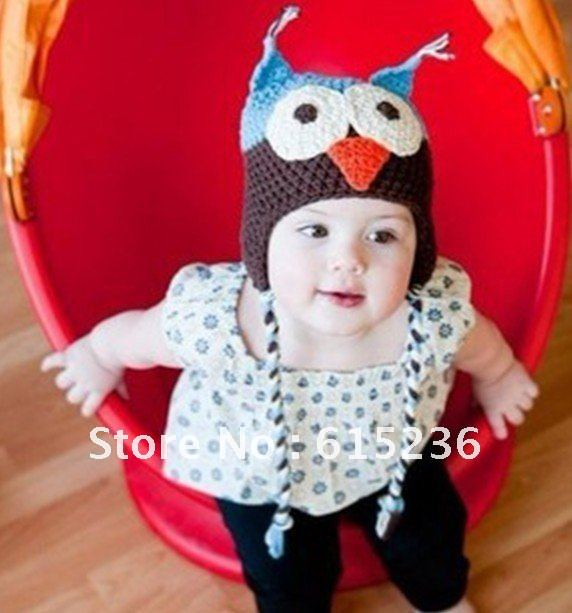free shipping owl baby hat w pigtails new infant toddler kids