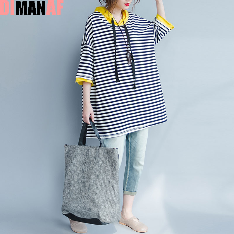 DIMANAF Plus Size Hoodies & Sweatshirts Women Summer Striped Print Pullover Female Casual Fashion Patchwork New Hoodies With Hat