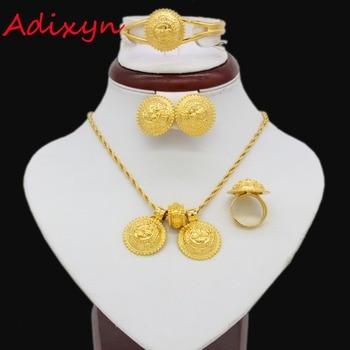 Etíope Adixyn conjunto de Jóias Para As Mulheres da Cor do Ouro Colar/Pingente/Brincos/Pulseira/Anel Habesha Africano Jóias conjuntos