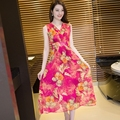 2016 Summer new fashion women clothing chiffon v-neck sleeveless dress flowers printing bohemian beach  long dresses female