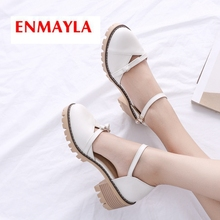 ENMAYLA 2019 New Arrival  PU Basic High Heel Pumps Round Toe Casual Buckle Strap Women Solid Shoes Size 34-43 LY2119