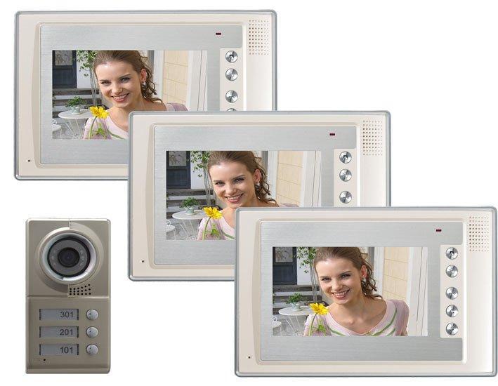 Home security intercom system top quality 7 inch color LCD video doorphone/intercom doorbell/video door phone for 3-apartments