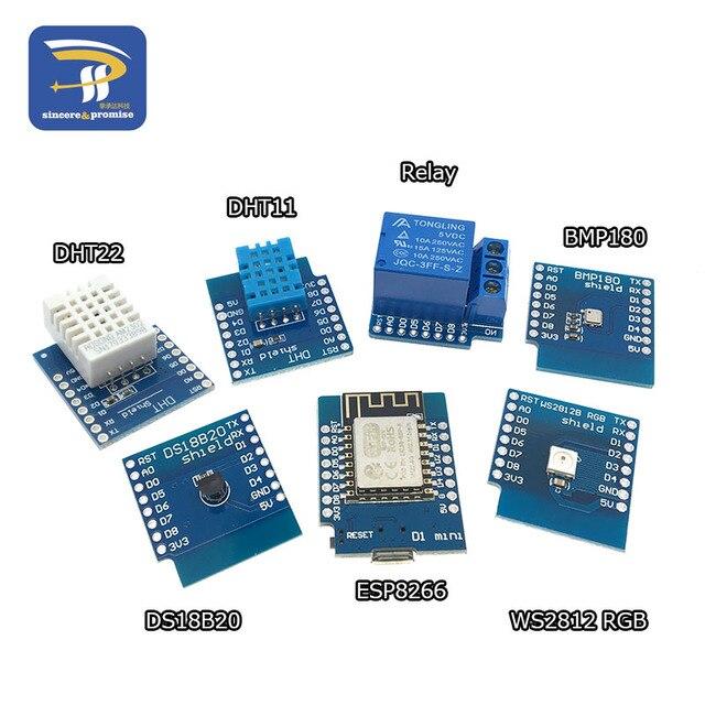 ESP8266 D1 Mini Pro WiFi Development Board NodeMcu Lua WS2812 RGB DHT11 AM2302 Relay BMP180 Matrix LED Shield for WeMos DIY Kit