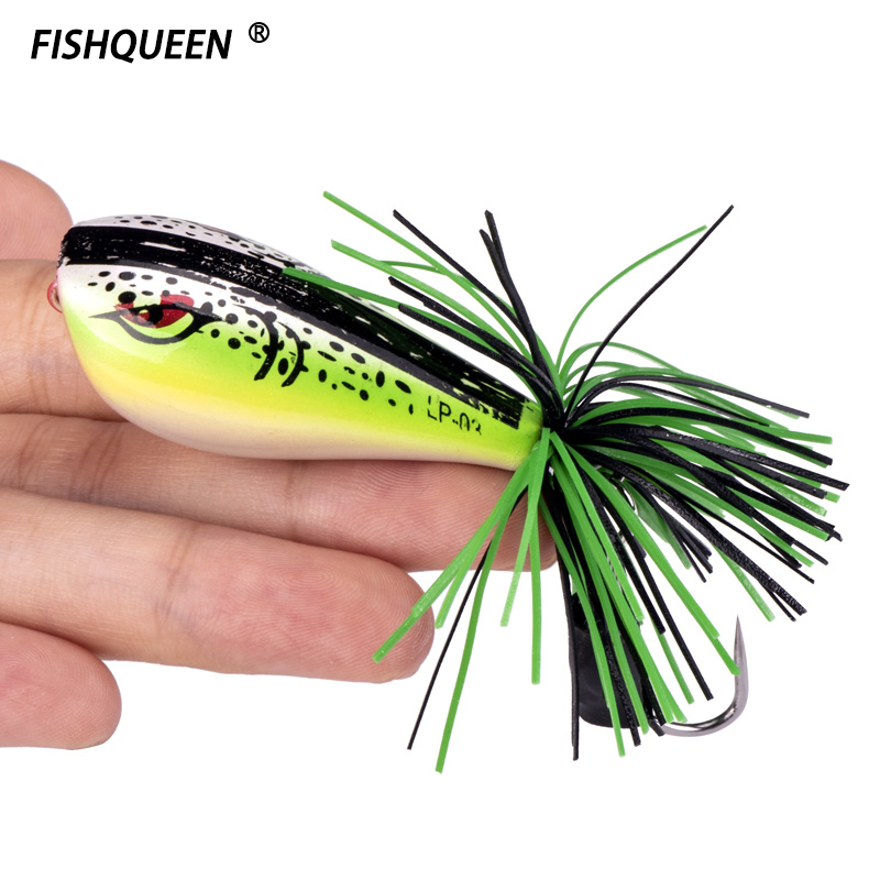 1Pcs Frog Lure 50mm/10g Hard Bass Bait Fishing Lures Snakehead Lure Topwater Simulation Popper Baits Frog Fishing Tackle