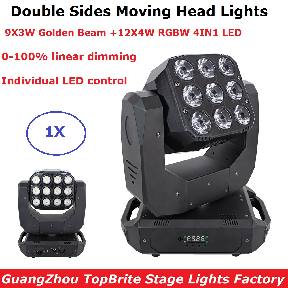 LED Wash Double Side 9X3W Golden Beam + 12X4W RGBW LED Moving Head Lights DMX 10/18/25 Channels Rotating Moving Head Stage LightLED Wash Double Side 9X3W Golden Beam + 12X4W RGBW LED Moving Head Lights DMX 10/18/25 Channels Rotating Moving Head Stage Light