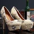 2017 Hecho A Mano! moda Rhinestone de La Perla Preciosa de La Boda Zapatos de Mujer de Marca de Alta Talones de Las Señoras Bombas de Las Mujeres Zapatos de dama de Honor tamaño 40