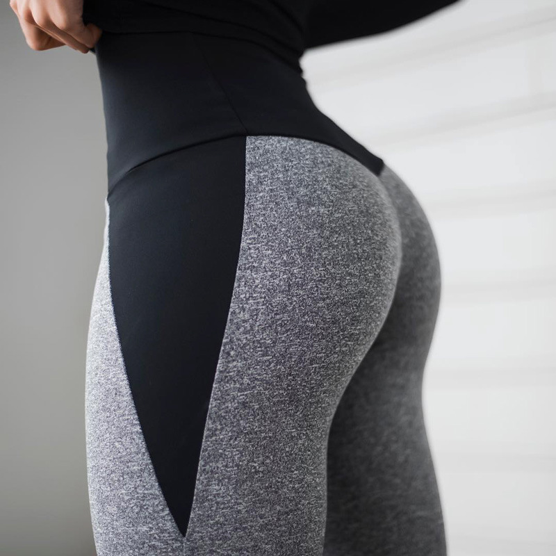 Black Gray Patchwork Fitness   Leggings   Women's High Waist Push Up Skinny Pants Elasticity Workout Thick   Leggings   For Women