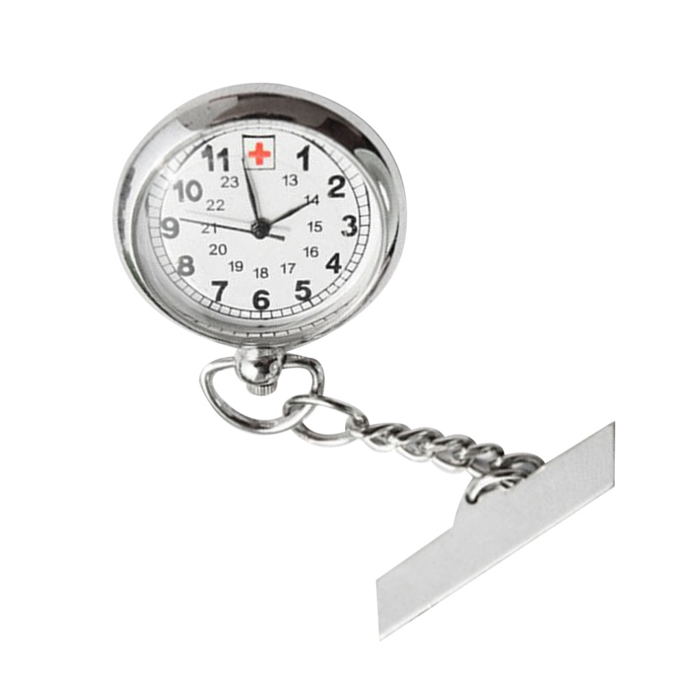 GENBOLI Large Face Nurses Pocket Fob Watch On A Bar With A Brooch Back Silver Color Relogio Masculino Unique New Portable Unisex