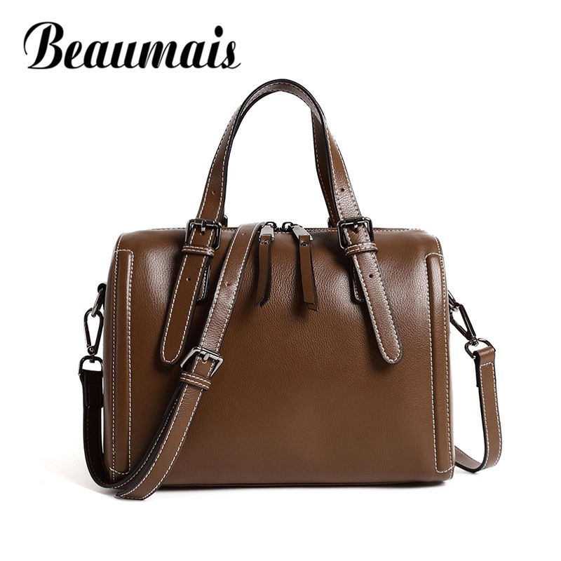 Beaumais Retro Genuine Leather Shoulder Bags Women Pillow Shaped Handbags Vintage Casual Tote Bag Female High Quality DF0150 instantarts vintage skull handbags women high quality leather shoulder tote bag designer female casual messenger bags for ladies
