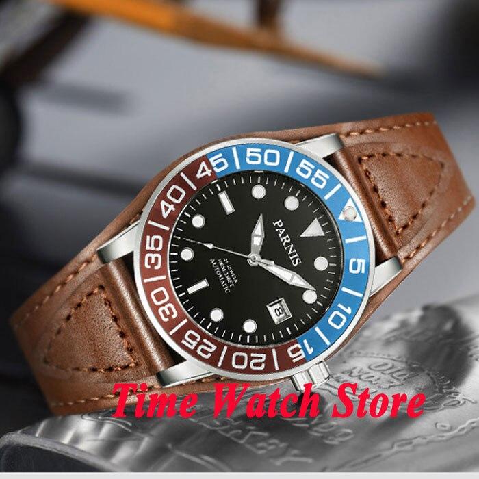 Parnis 42mm black dial sapphire glass black blue red bezel 10ATM 21 jewels MIYOTA Automatic mens watch 429 цена и фото
