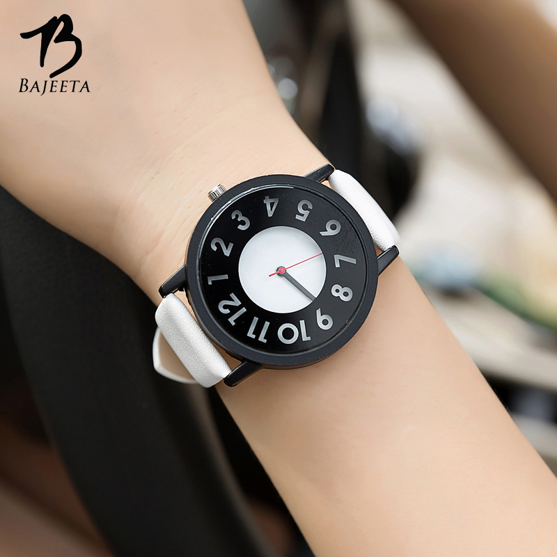 BAJEETA Hollow Dial Lovers Watch New Fashion PU Leather Quartz Women Men Watches Student Black White Wristwatch Relogio Feminino